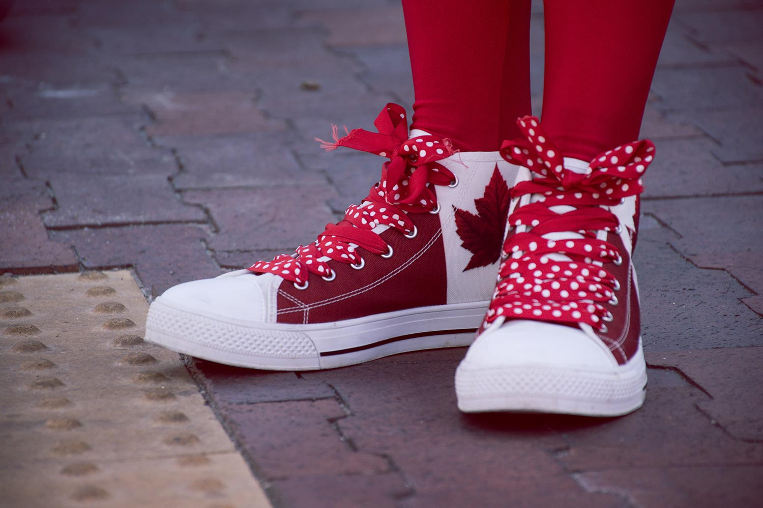Image of Canadian flag-themed shoes