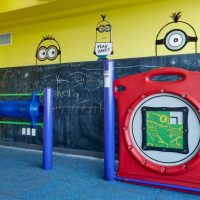 Indoor Hansen playground with chalkboard